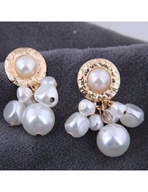 Fashion Gold Metal Pearl Drop Earrings