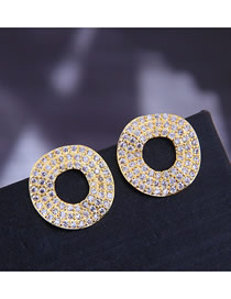 Fashion Gold 925 Silver Pin Copper Micro Inlaid Zircon Ring Stud Earrings