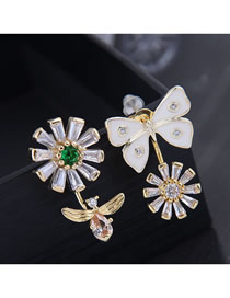 Fashion Gold 925 Silver Needle Copper Micro-inlaid Zircon Flower Butterfly Dance Asymmetric Earrings