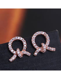 Fashion Gold 925 Silver Needle Copper Micro-inlaid Zircon Knotted Earrings