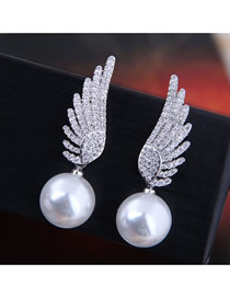 Fashion Silver 925 Silver Needle Copper Micro-inlaid Zircon Angel Wings Pearl Stud Earrings