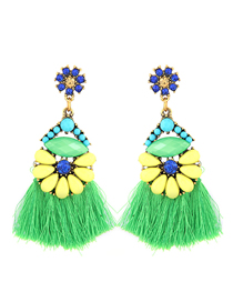Fashion Green Metal Tassel Earrings