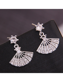 Fashion Silver Copper Micro-inlaid Zirconium Fan-shaped Earrings