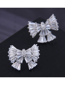 Fashion Silver 925 Silver Needle Copper Micro Inlaid Zircon Big Bow Earrings
