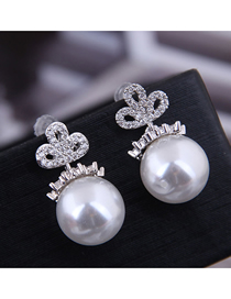Fashion Silver 925 Silver Needle Copper Micro Inlaid Zircon Pearl Earrings
