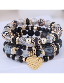 Fashion Black And White Metal Heart Multi-layer Bracelet