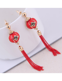 Fashion Red 925 Silver Needle Lantern Tassel Stud Earrings