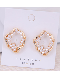 Fashion Gold 925 Silver Needle Pearl Conch Stud Earrings