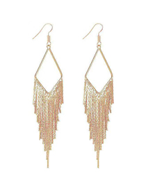 Fashion Gold Metal Diamond Tassel Earrings