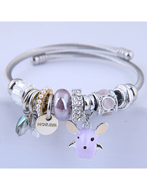 Fashion Purple Metal Cute Mouse Bracelet