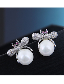 Fashion Silver 925 Silver Needle Copper Micro Inlaid Zircon Bee Pearl Earrings