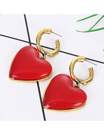 Fashion Red Metal Red Heart Earrings