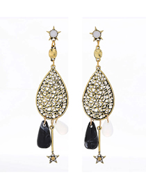 Fashion Gold Metal Flash Diamond Water Drop Earrings