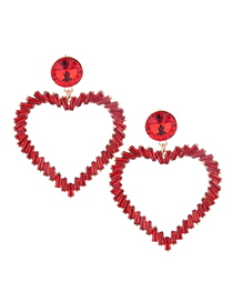 Fashion Red Metal Love Earrings
