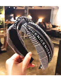 Fashion Black And White Plaid Fabric Knotted Wide Edge Hair Band