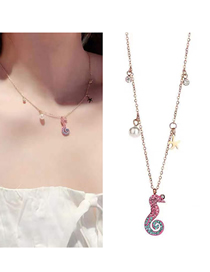 Fashion Rose Gold Titanium Steel Small Hippocampus Necklace