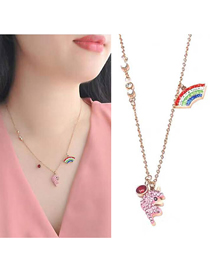 Fashion Rose Gold Titanium Steel Rainbow Dolphin Necklace