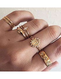 Fashion Golden Sunflower Geometric Figure Ring Set With Diamonds