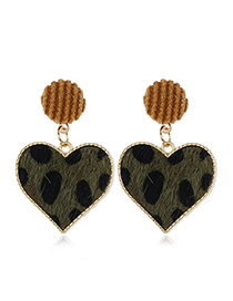 Fashion Green Peach Heart Stud Earrings With Diamonds