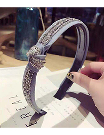 Fashion Gray Cross-knotted Hair Hoop With Diamonds