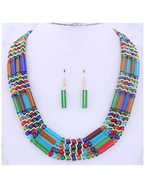 Fashion Color Metal Crystal Bead Contrast Necklace Earring Set