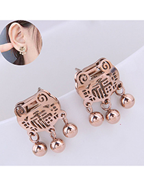 Long Life Lock Blessing Round Beads Stud Pendientes