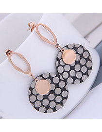 Fashion Black Disc Black And White Dot Irregular Geometric Stud Earrings