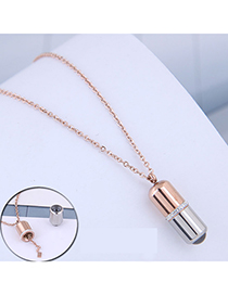 Fashion Rose Gold Diamond Capsule Contrast Necklace