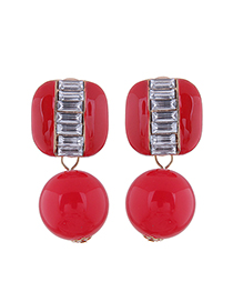 Fashion Red Contrast Pearl And Diamond Geometric Stud Earrings