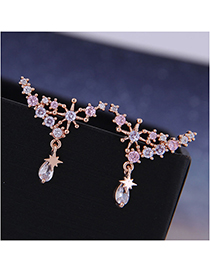 Fashion Rose Gold Star Stud Earrings With Diamonds