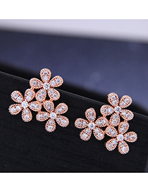 Fashion Rose Gold Flower Studded Geometric Stud Earrings