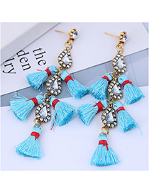 Fashion Alloy + Drill + Tassel Long Stud Earrings With Diamonds