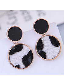 Fashion Titanium Steel Rose Gold Titanium Steel Leopard Print Stud Earrings