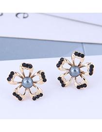 Fashion Black Pearl Petal Geometric Earrings With Diamonds