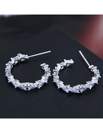 Fashion Silver Cubic Zirconia Meniscus Stud Earrings