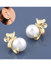 Fashion Golden Pearl Magic Mouse Earrings