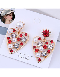 Fashion Red Love Heart Stud Earrings With Diamonds