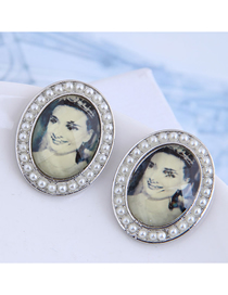 Fashion Silver Marilyn Monroe Pearl Geometric Stud Earrings