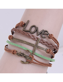 Fashion Bronze Hand Woven Anchor Letter Cross Alloy Multilayer Bracelet