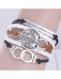 Fashion White Hand-woven Handcuffs Lion Shield Alloy Multilayer Bracelet