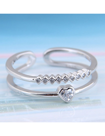Fashion Silver Cubic Zirconia Heart Open Ring