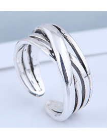 Fashion Silver Cross Alloy Cutout Ring