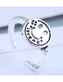 Fashion Silver Alphabet Smiley Openwork Ring
