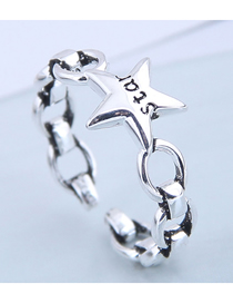 Fashion Silver Letter Chain Lucky Star Open Ring