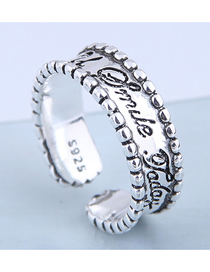 Fashion Silver Letter Embossed Wide Open Ring