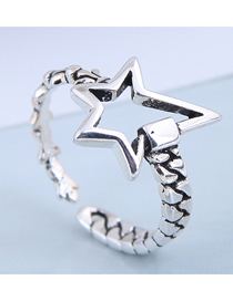 Fashion Silver Pentagram Openwork Ring