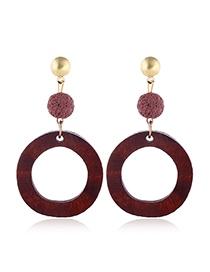 Fashion Red Wine Alloy Wood Geometric Round Hollow Stud Earrings