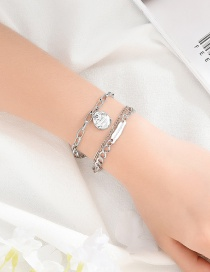 Fashion Silver Embossed Wafer Three-layer Bracelet