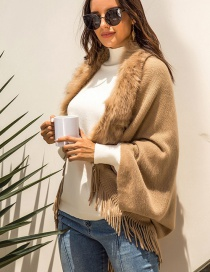 Fashion Khaki Fringed Fur Collar Cloak Cloak Sweater