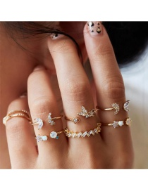 Fashion Gold Diamond Butterfly Flower Crystal Ring Set Of 7